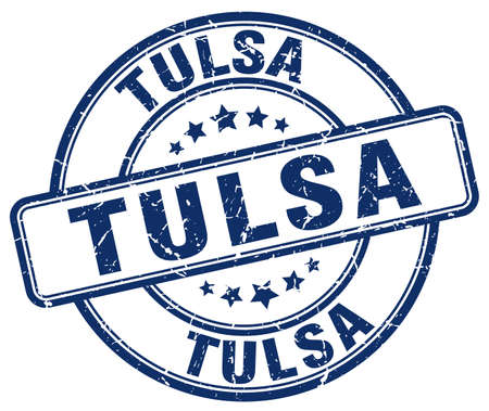 tulsa: Tulsa blue grunge round vintage rubber stamp.Tulsa stamp.Tulsa round stamp.Tulsa grunge stamp.Tulsa.Tulsa vintage stamp.