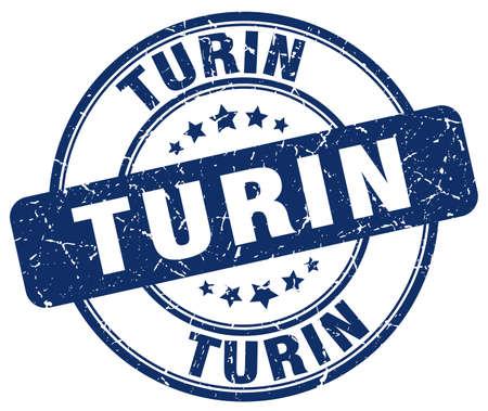 turin: Turin blue grunge round vintage rubber stamp.Turin stamp.Turin round stamp.Turin grunge stamp.Turin.Turin vintage stamp. Illustration