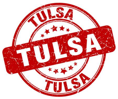tulsa: Tulsa red grunge round vintage rubber stamp.Tulsa stamp.Tulsa round stamp.Tulsa grunge stamp.Tulsa.Tulsa vintage stamp. Illustration