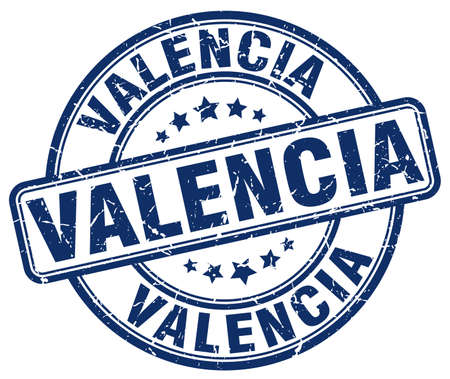 valencia: Valencia blue grunge round vintage rubber stamp.Valencia stamp.Valencia round stamp.Valencia grunge stamp.Valencia.Valencia vintage stamp.