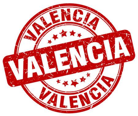 valencia: Valencia red grunge round vintage rubber stamp.Valencia stamp.Valencia round stamp.Valencia grunge stamp.Valencia.Valencia vintage stamp.