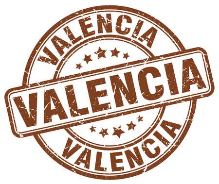 valencia: Valencia brown grunge round vintage rubber stamp.Valencia stamp.Valencia round stamp.Valencia grunge stamp.Valencia.Valencia vintage stamp.