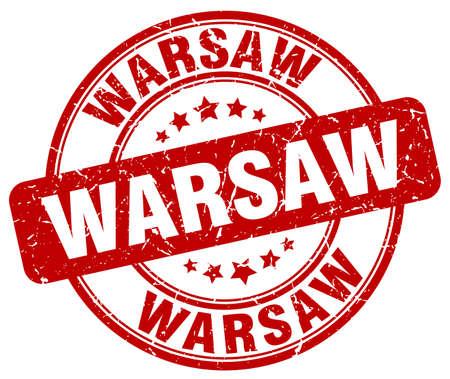 warsaw: Warsaw red grunge round vintage rubber stamp.Warsaw stamp.Warsaw round stamp.Warsaw grunge stamp.Warsaw.Warsaw vintage stamp.