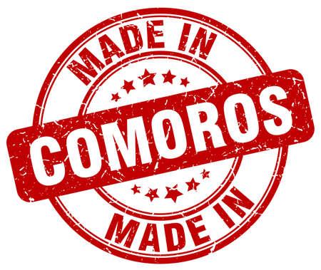 comoros: made in Comoros red grunge round stamp Illustration
