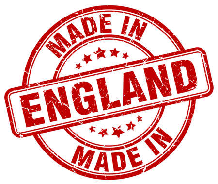 made in: made in England red grunge round stamp Illustration