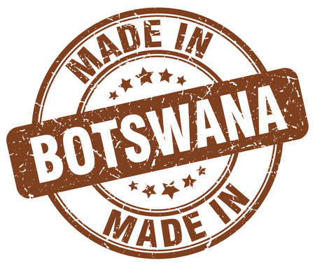made in: made in Botswana brown grunge round stamp