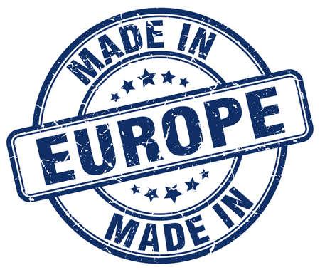 Fabricado en Europa sello redondo azul del grunge Ilustración de vector