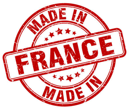 france stamp: made in France red grunge round stamp