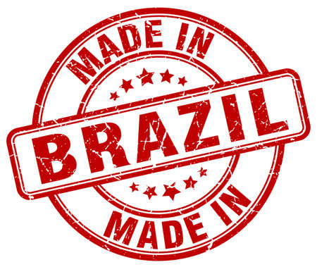made in: made in Brazil red grunge round stamp