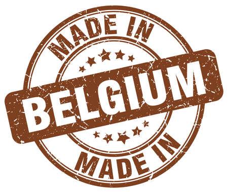 made in belgium: made in Belgium brown grunge round stamp Illustration