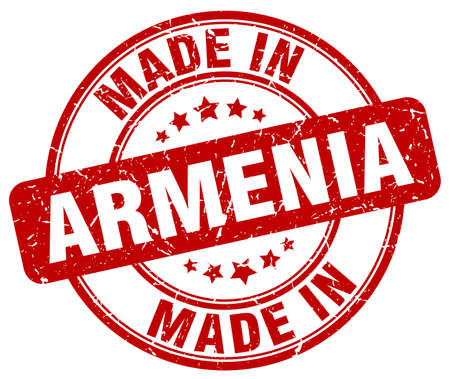 made in: made in Armenia red grunge round stamp