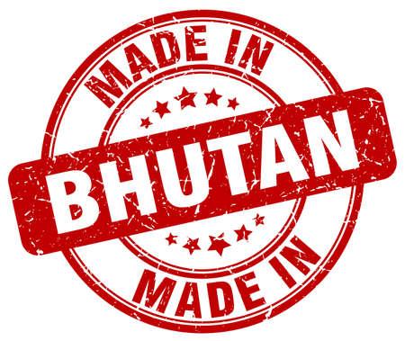 bhutan: made in Bhutan red grunge round stamp