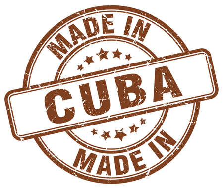 made in: made in Cuba brown grunge round stamp
