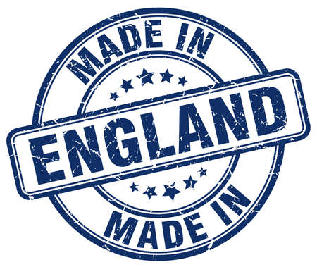 made in: made in England blue grunge round stamp