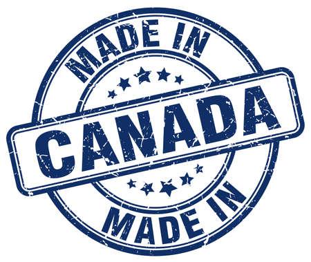 canada stamp: made in Canada blue grunge round stamp Illustration