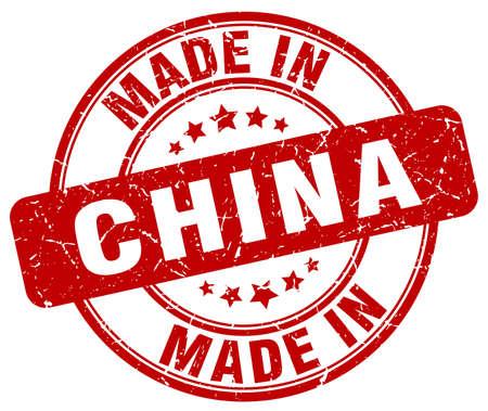made in China red grunge round stamp