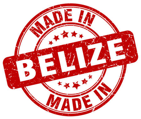 belize: made in Belize red grunge round stamp