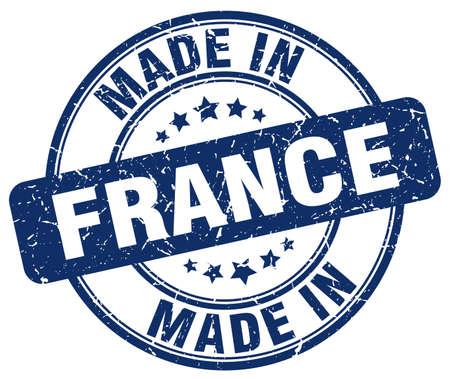 france stamp: made in France blue grunge round stamp
