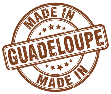 made in: made in Guadeloupe brown grunge round stamp Illustration