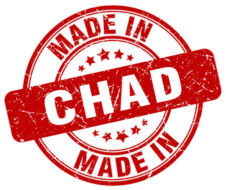 chad: made in Chad red grunge round stamp Illustration