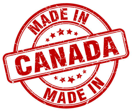 canada stamp: made in Canada red grunge round stamp