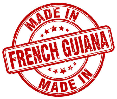 made in French Guiana red grunge round stamp