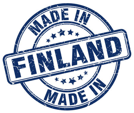 finland: made in Finland blue grunge round stamp