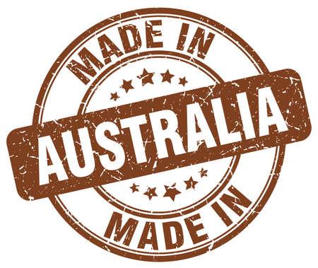 australia stamp: made in Australia brown grunge round stamp