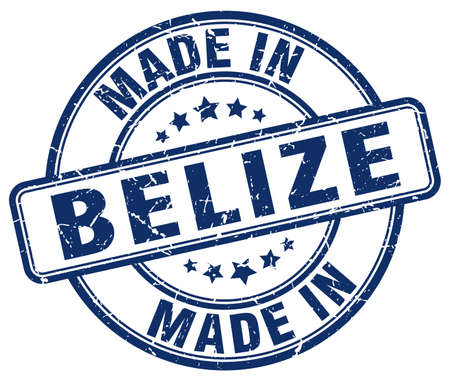 belize: made in Belize blue grunge round stamp