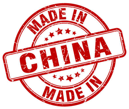 made in china: made in China red grunge round stamp