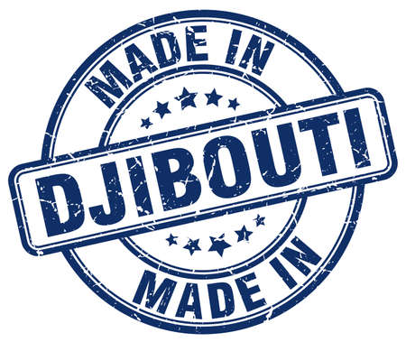 djibouti: made in Djibouti blue grunge round stamp
