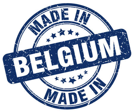 made in belgium: made in Belgium blue grunge round stamp Illustration