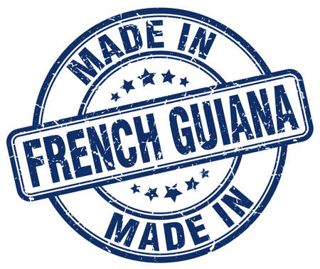 made in French Guiana blue grunge round stamp