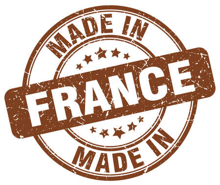 made in: made in France brown grunge round stamp
