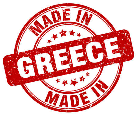 made in: made in Greece red grunge round stamp