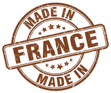 made in france: made in France brown grunge round stamp