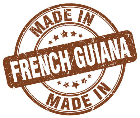 french produce: made in French Guiana brown grunge round stamp