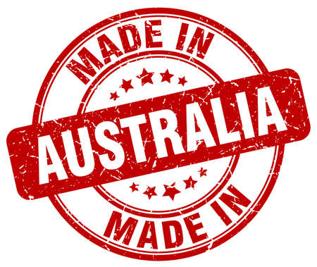 made in: made in Australia red grunge round stamp Illustration