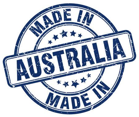 australia stamp: made in Australia blue grunge round stamp Illustration