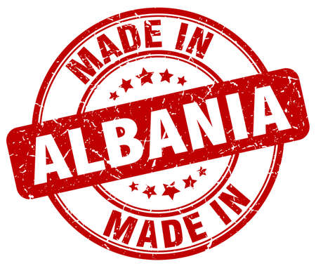 made in: made in Albania red grunge round stamp