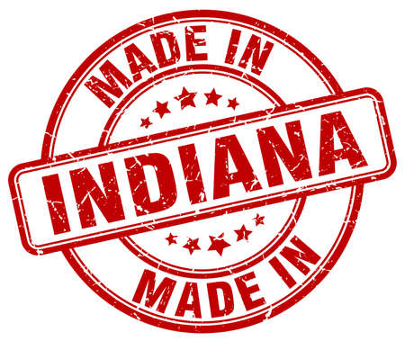 made in: made in Indiana red grunge round stamp Illustration