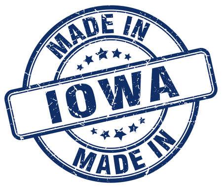 iowa: made in Iowa blue grunge round stamp