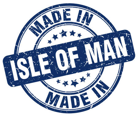 man made: made in Isle Of Man blue grunge round stamp