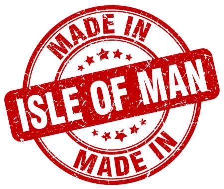 man made: made in Isle Of Man red grunge round stamp
