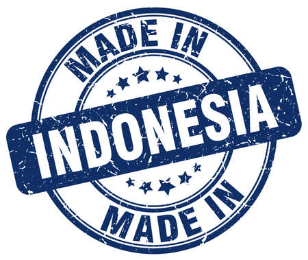 made in: made in Indonesia blue grunge round stamp Illustration