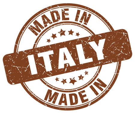produced: made in Italy brown grunge round stamp Illustration