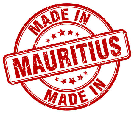 made in: made in Mauritius red grunge round stamp