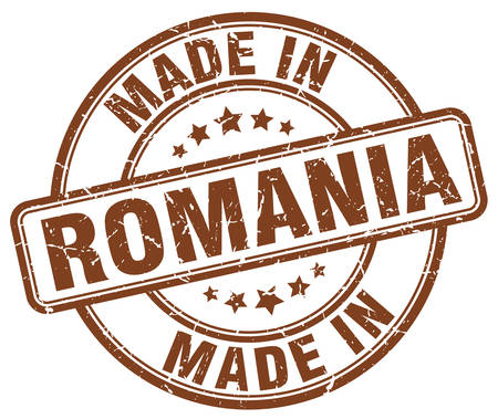 made in: made in Romania brown grunge round stamp