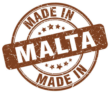 malta: made in Malta brown grunge round stamp
