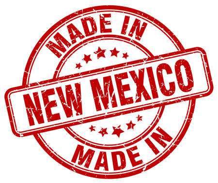 made in New Mexico red grunge round stamp